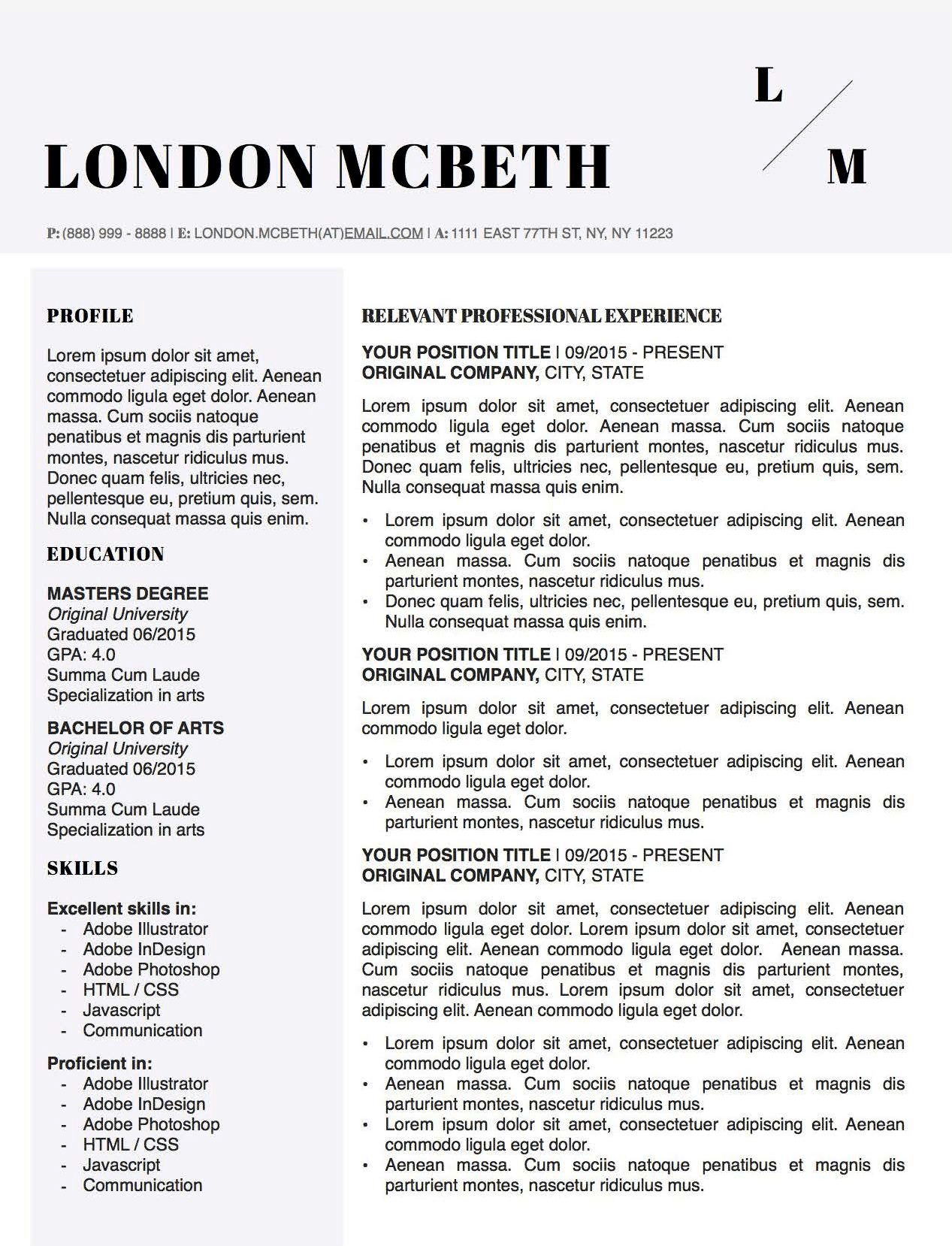 London Mcbeth Resume Template