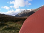 Camping at Corrour Bothy, looking back towards the Lairig Ghru