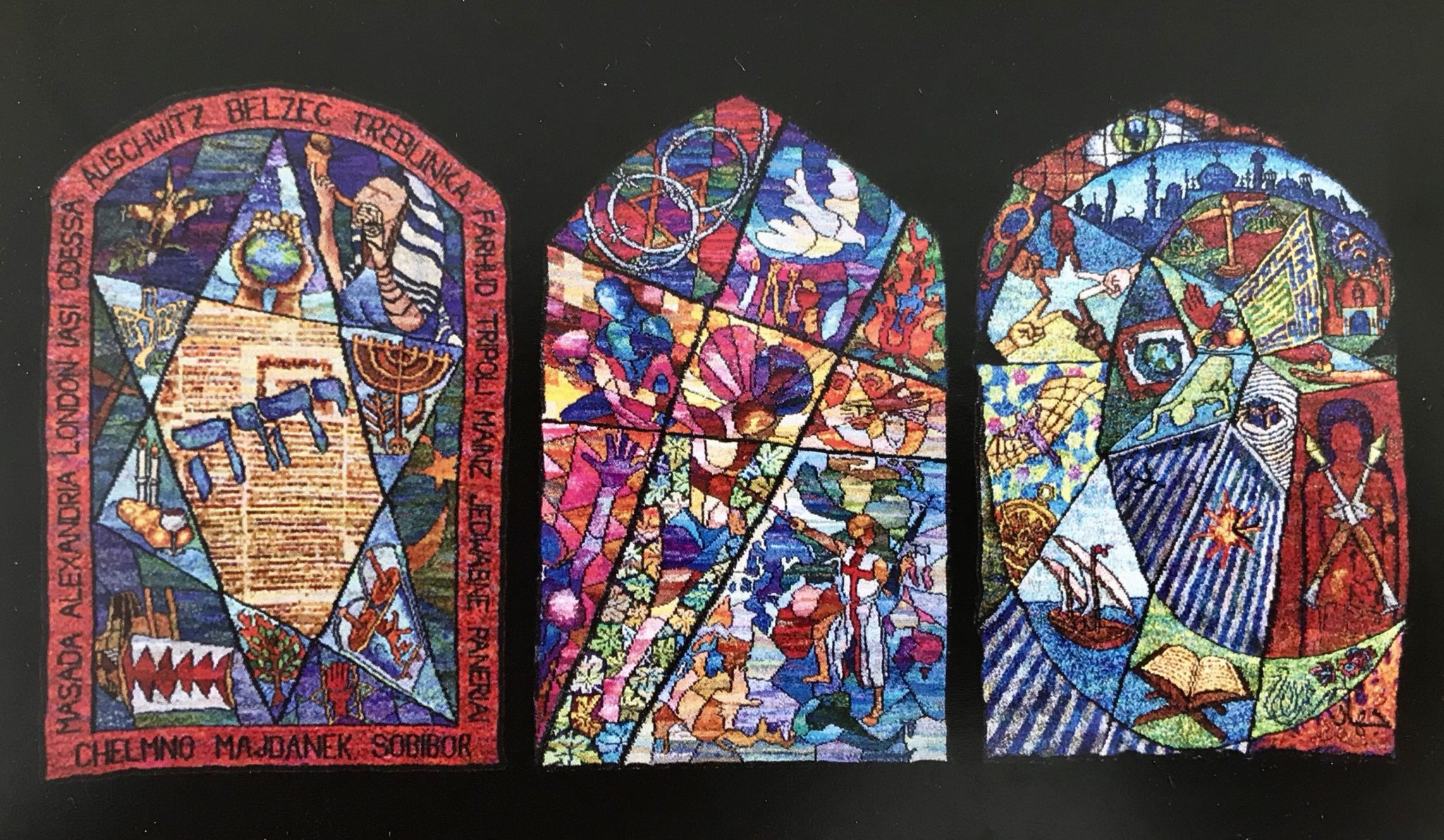 Saturday Sept 21, 2019 @ 7:30 pm.  A one-man play & talkback about the artistic and spiritual journey of Kirk Dunn, who took 15 years to design and hand knit a triptych of large tapestries in the style of stained glass windows, exploring the commonalities and conflicts of the Abrahamic faiths. There is no other project like it in the world.l