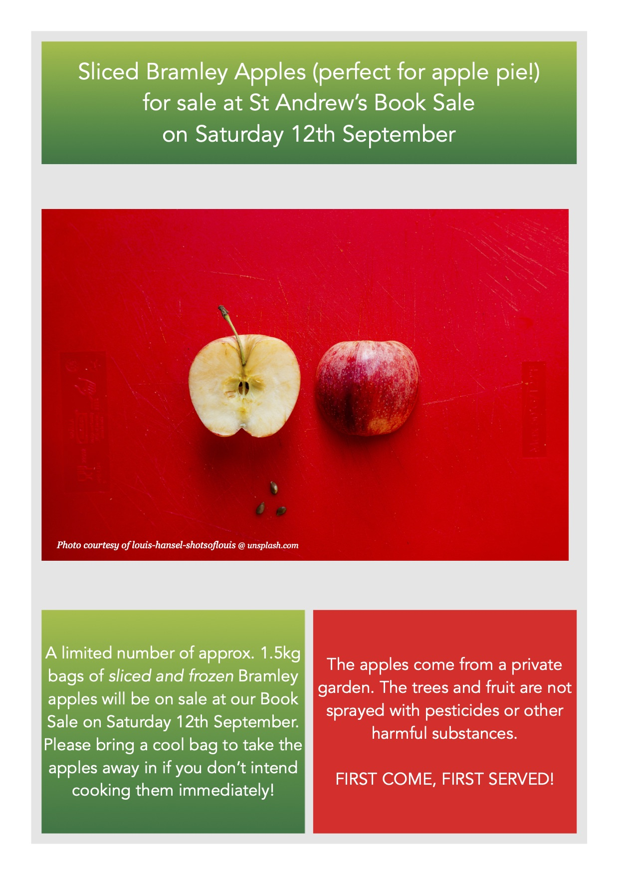 Sale of apples at book sale