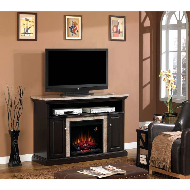 Fireplace Tv Stand Black Classic Flame Brighton Media Mantel With Electric