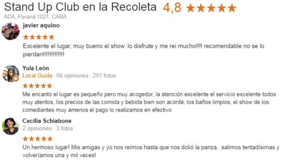 Opiniones Stand Up Club