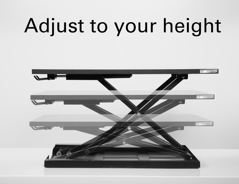 Rocelco Height Adjustable Dual Monitor Sit Stand Desk