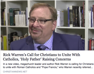 Image result for picture of Pope Francis with Charismatic leaders Rick Warren
