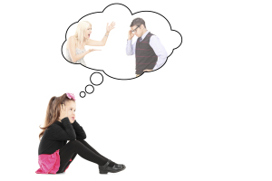An illustration of a little girl recollecting a memory of her parents arguing isolated on white background