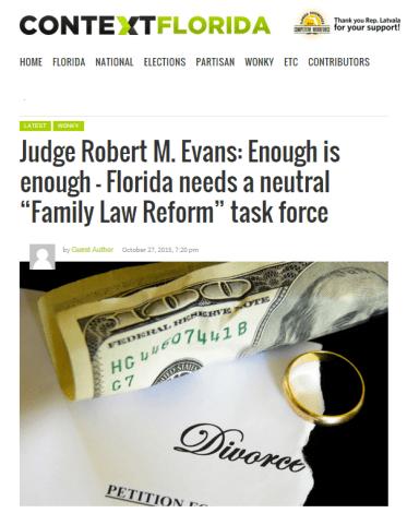 Florida Ret. Judge Robert M Evans on Family Law Reform Enough is Enough - 2015