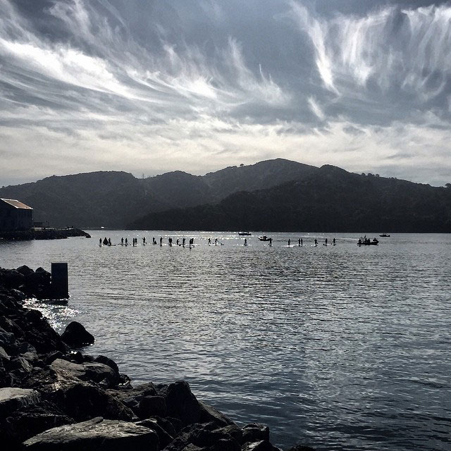 Marissa Miller: A beautiful March morning on San Francisco Bay, along the Tiburon waterfront, featured the first annual Tiburon Waterfront SUP race, hosted by Desolation Outdoors! Pictured here: the beginners' fleet, heading towards Angel Island and Raccoon Straits.