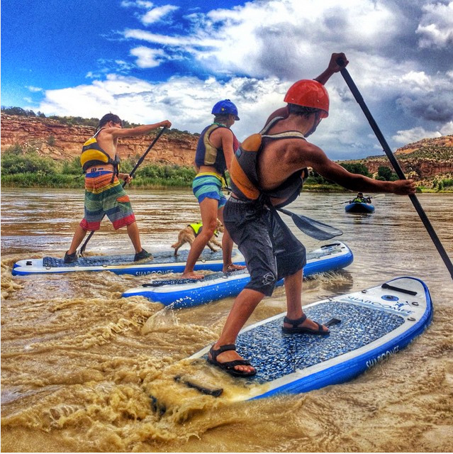 @shaboomee Ever wonder what a #SUPbattle with the @kelloggshow clan looks like!? ...here it is up close & personal & those kids are #FIERCE! ...ps #eddy the #supdog likes to play too!