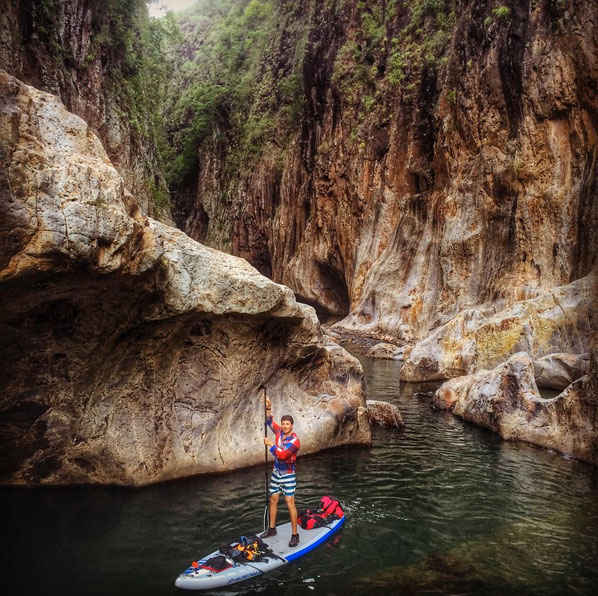 saadventuresports Travel / Explore / Embrace / Learn / Live . My bro-in-law @baldosurf cruisin' the slot canyons of northern Nicaragua right after a long portage over shallow water. Give him a follow or contact him for the most incredible adventure of your life