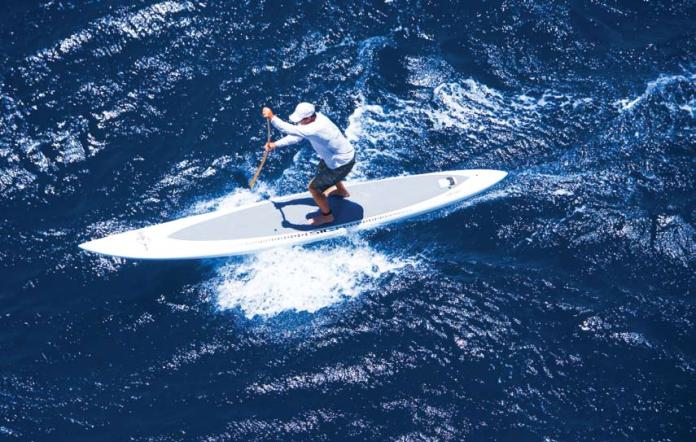 RON DAHLQUIST Jack, using his bamboo paddle, placed 11th overall in July's Naish International Maliko race.