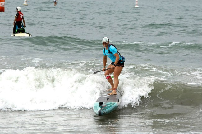 April Zilg Santa Monica Pier Paddleboard race Hobie Mike Muir photo