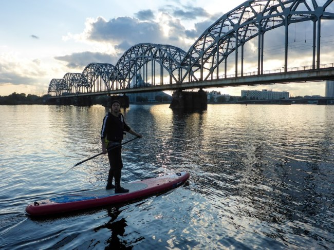 Latvia Riga Central Market stand up paddling Thomas