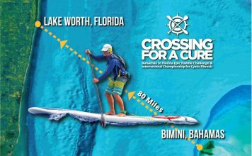 Crossing for a Cure Bimini Florida stand up paddle