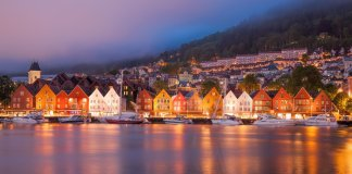 Bergen with boats in Norway, UNESCO World Heritage Site