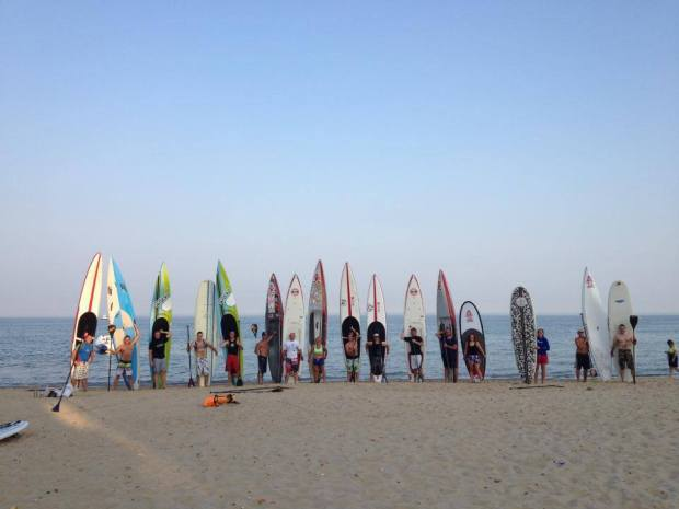 Bay SUP summer evening club paddle
