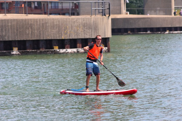 Red Paddle paddling at SUP For Cancer