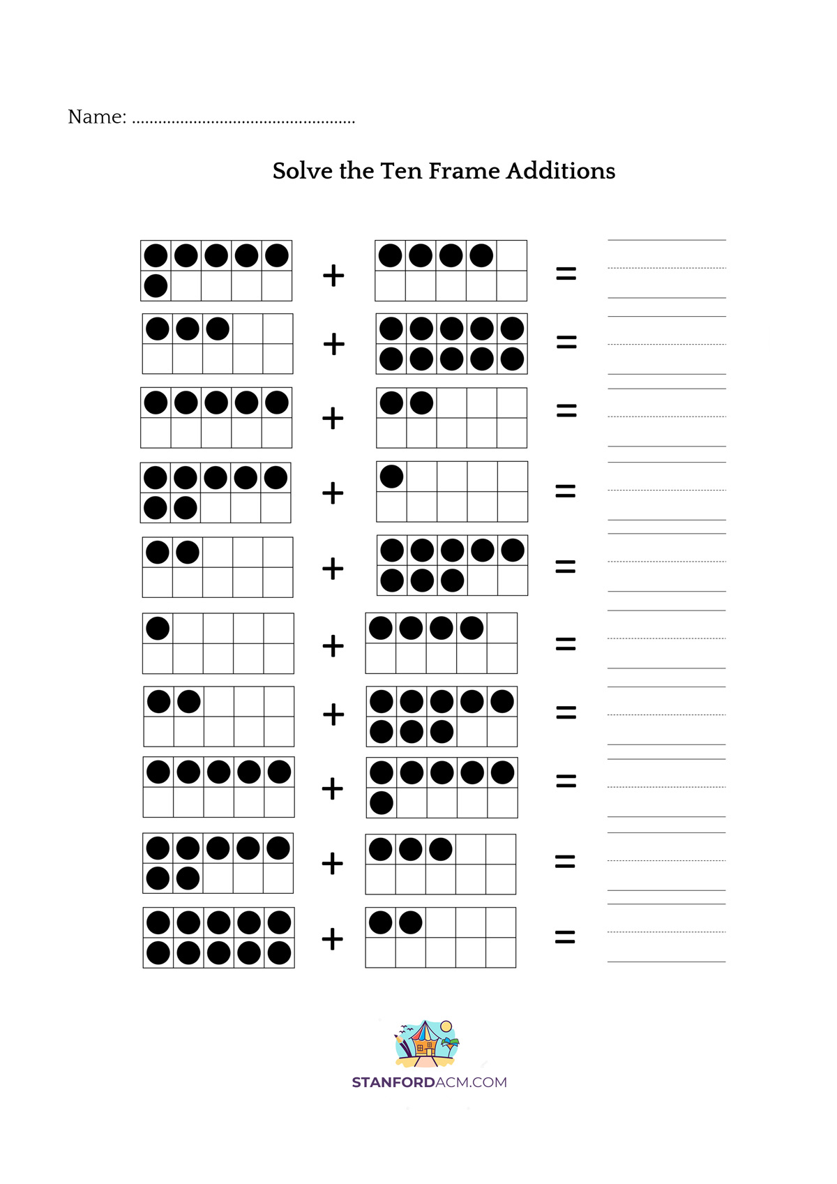 hight resolution of 10 Frame Addition Worksheet   Printable Worksheets and Activities for  Teachers