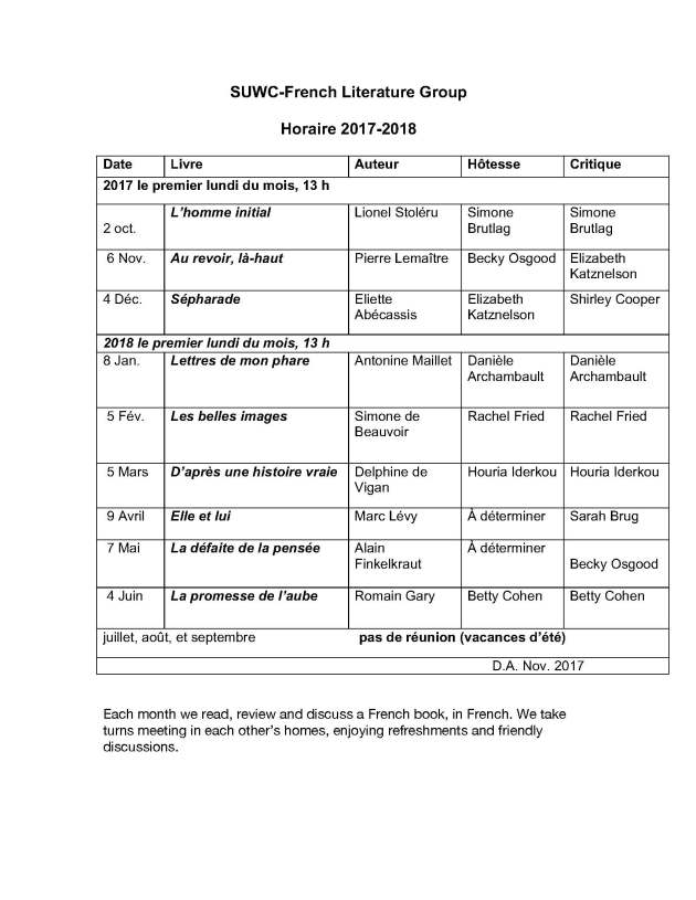 Horaire 2017-18