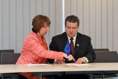Парафирање Бриселског споразума, са Кетрин Ештон
