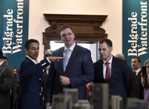 Serbian Prime Minister Aleksandar Vucic presents the Emirati funded 'Belgrade on Water' project (AFP)