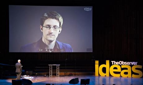 John Naughton interviews Edward Snowden via Skype at the Observer Festival of Ideas Photograph: Alicia Canter For The Guardian for the Guardian