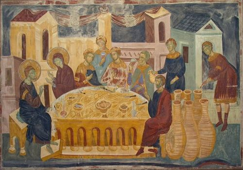 Свадба у Кани (фреска у манастиру Каленић)