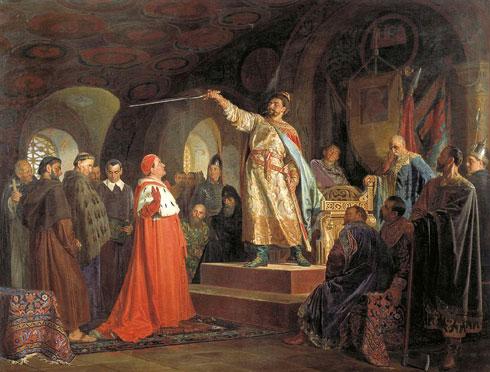 Николај Неврев: Роман Халички прима посланство папе Иноћентија Трећег (1875)
