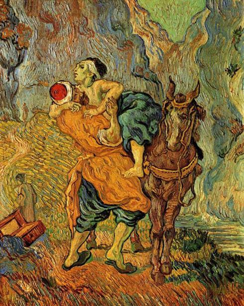 Парабола О добром Самарјанину, Винсент Ван Гог (по слици Ежена Делакроа), крај 19. века. Као и тумачења у проповедима и сликарско виђење догађаја може да се ослања на неку познату и добру слику, а да ипак буде и потпуно оригинално.