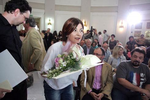 Nataša Škaričić prilikom primanja nagrade za novinarku godine 2012. (Foto: HND.hr)