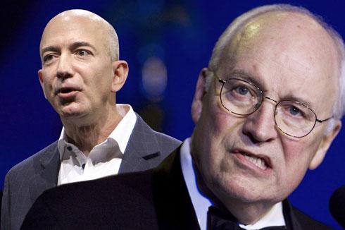 Jeff Bezos, Dick Cheney (Credit: AP/Reed Saxon/Manuel Balce Ceneta/Photo montage by Salon)