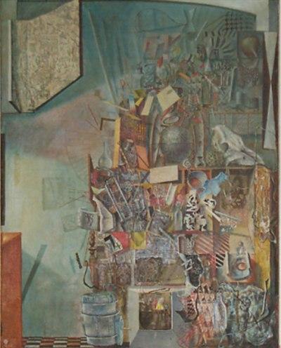 Леонид Шејка, Складиште 3, 1965. Уље на платну, 975 x 770 mm. (Из Кишове колекције уметничких дела)
