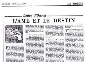 """Факсимил """"Писма из Острога"""" Комнена Бећировића у """"Монду"""" од 16/17. новембра 1975."""