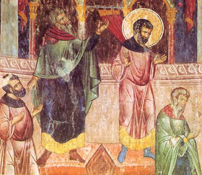 Детаљ фреске Приче о митару и фарисеју, 1410-18 године, Манастир Манасија, Србија