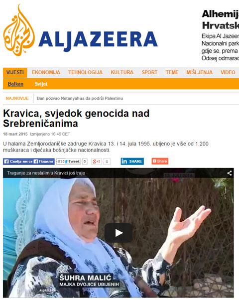 Вест о Кравици на сајту Ал џазире (18. март 2015)