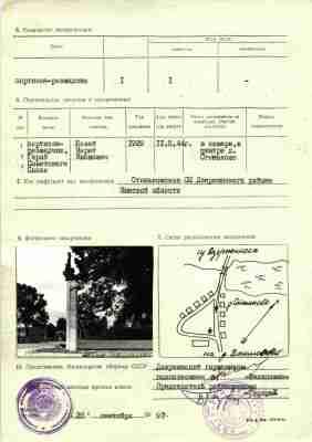 Учетная карточка воинского захоронения в Станьково — Марат Казей