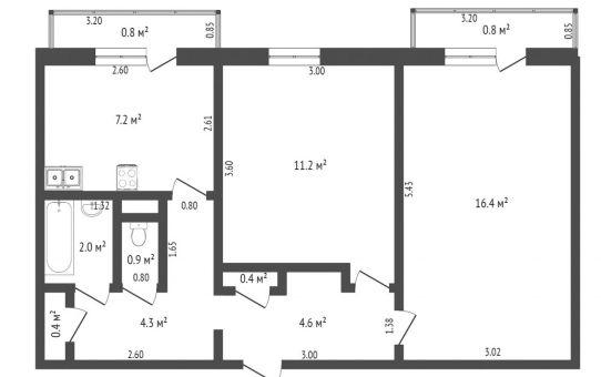 Продается двухкомнатная квартира в Станьково