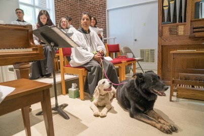 2016 Blessing of the Animals: Wendy with her dogs in the choir