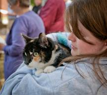 2011 Blessing of the Animals: Kathryn holds her cat