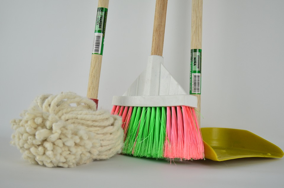 Mop, broom, and dust picker for house cleaning