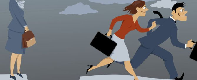 senior woman standing on the edge of the gap, separated her from competing younger employees