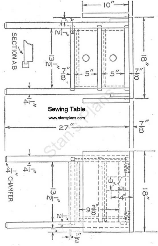 Sewing Table Plans Free : sewing, table, plans, Sewing, Table, Woodworking, Plans, Complete