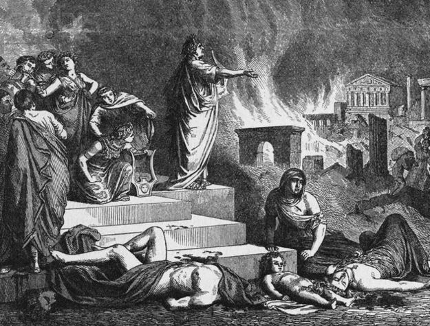 Old engraving of Nero fiddling while Rome burns