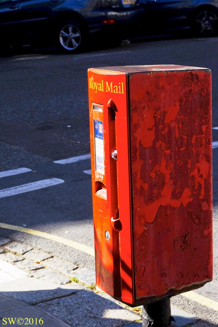 Postbox and stamps