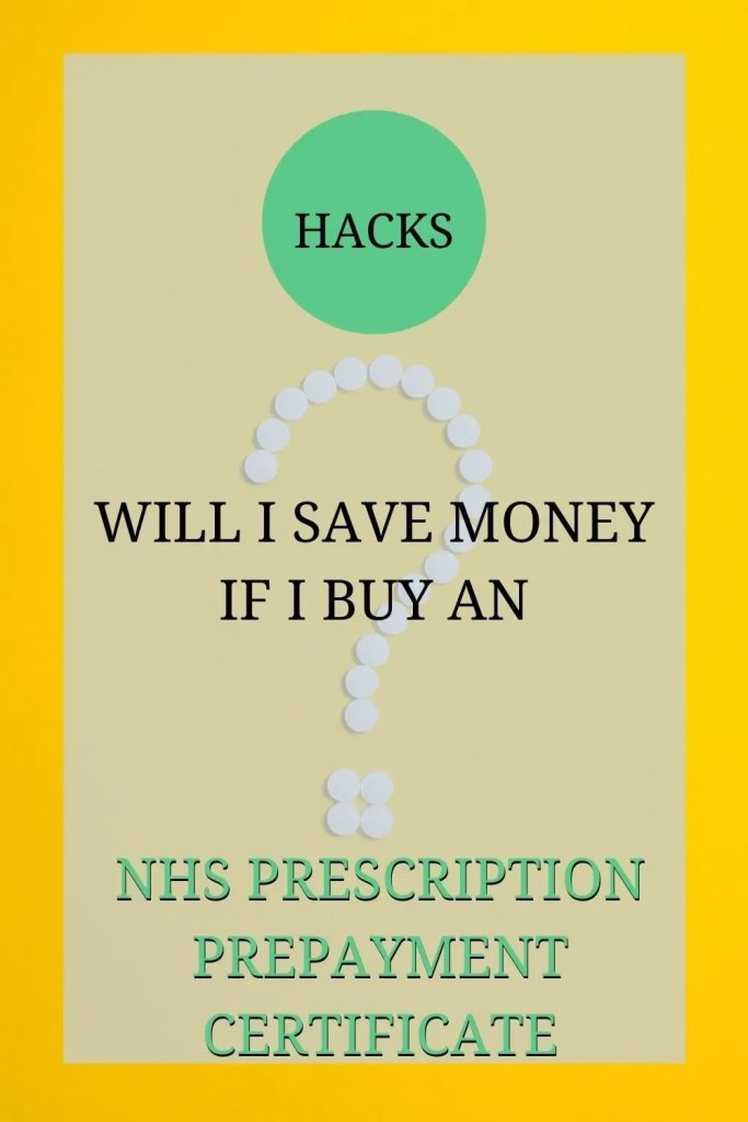 The image shows a yellow surface. There are tablets on the surface, placed in the shape of a question mark. The text over the image reads: 'Hacks: will I save money if I buy an NHS Prescription Prepayment Certificate'.