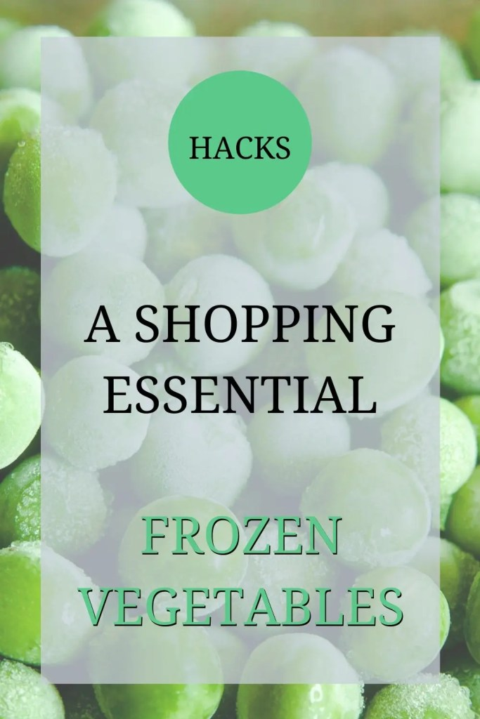 This picture shows some frozen peas and written over the image it says: 'Hacks -- a shopping essential -- frozen vegetables.'