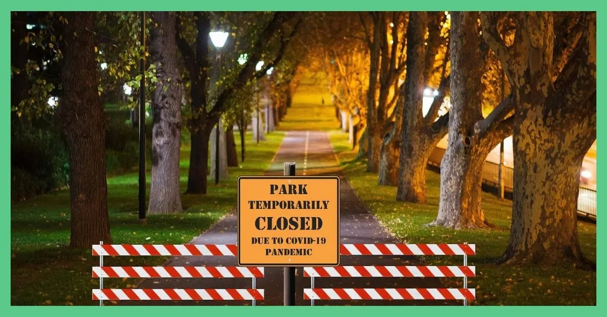 A sign at the front of a tree-lined road, saying its closed due to a pandemic. The image is being used in an article about lessons we can carry forward with us as we are leaving lockdown.