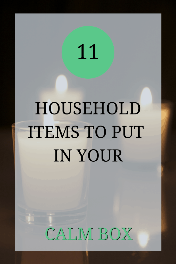 The image shows three white church candles, each one is alight. Over the image the text reads: '11 household items to put in your calm box'.