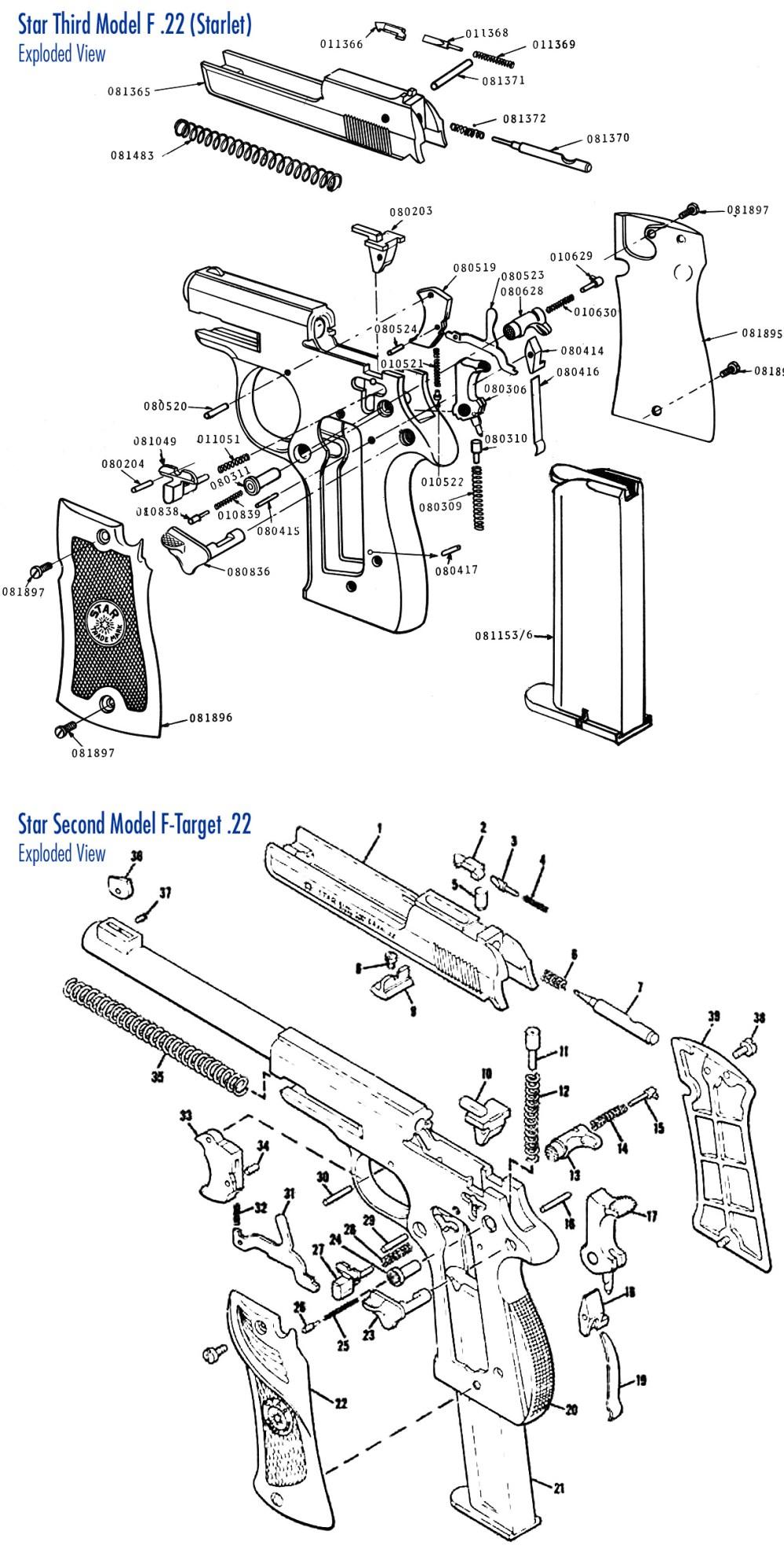 medium resolution of exploded view of star model f pistol