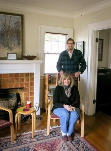 Brittain Brewer, current Board chair of Sullivan Gulch Neighborhood Association inside his home, meeting with Carol Gossett, chair of the Land Use and Transportation Committee.
