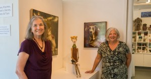 Donna Guardino with long-time friend and fellow Alberta neighborhood activist Elise Scolnick, inside Guardino Gallery where exhibits change monthly. In August, featured artists include painter William Hernandez and ceramicist Mary Moore. — at Northeast Portland.